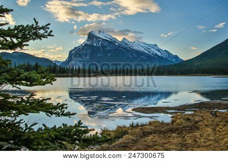 Mt. Rundle In Banff National Park Over Vermilion Lakes, One Of The Famous Pictures Of Canadian Rocki