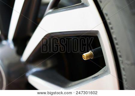 Air Pressure Valve On A Car Tire