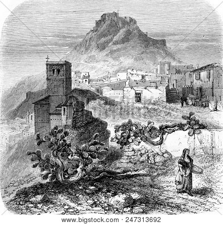 Castle of Lorca, vintage engraved illustration. Magasin Pittoresque 1855.