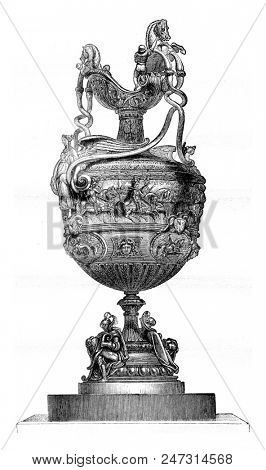 Vase wins in 1841 at the Goodwood Races, England, vintage engraved illustration. Magasin Pittoresque 1841.
