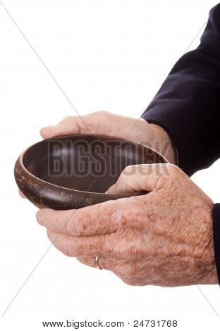 Old White Man Hands Holding Wooden Bowl Isolated