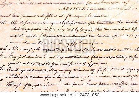 Closeup-erste Änderung Verfassung der Vereinigten Staaten.