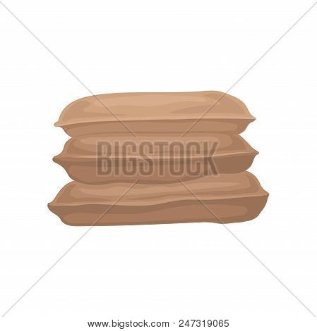 Pile Of Big Burlap Sacks. Three Brown Textile Brown Bags With Grain Or Flour. Graphic Element For Po