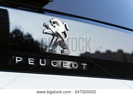 Prague, Czech Republic - March 29 2018: Peugeot Company Logo On Silver Car On March 29, 2018 In Prag