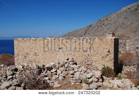 The remains of the abandoned village of Gera on the Greek island of Tilos.
