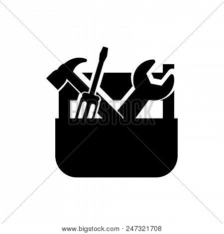 Tools Vector Icon Flat Style Illustration For Web, Mobile, Logo, Application And Graphic Design. Too