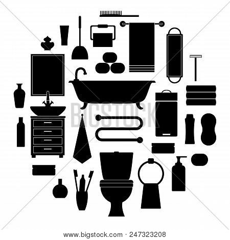 Silhouettes Of Toiletries Icons. Vector Stencil. Furniture, Sanitation, Equipment For The Bathroom.