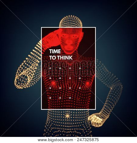 Man in a thinker pose. 3d model. Psychology or philosophy concept. Idea concept vector illustration. poster