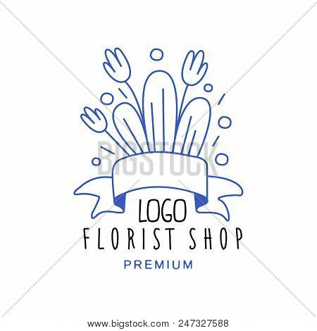 Florist Shop Logo Premium, Design Hand Drawn Vector Illustration In Blue Color Isolated On A White B