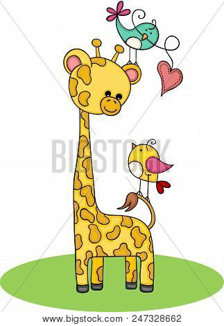 Scalable Vectorial Representing A Cute Giraffe With Couple Of Birds, Illustration Isolated On White