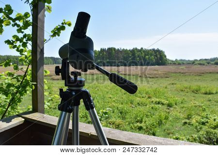 Binocular On A Tripod In A Birdwatching Tower At The Swedish Island Oland