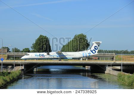 Amsterdam, The Netherlands - June 9th 2016: G-ecob Flybe De Havilland Canada Dhc-8-402q Dash 8 , Tax