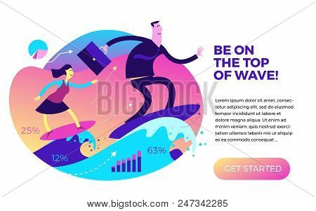 Business Infographics With Illustrations Of Business Situations. Businessman And Businesswoman On Th