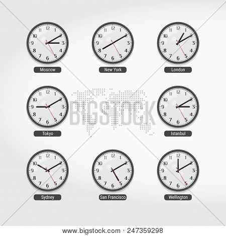 World Time Clocks. Current Time In Famous World Cities. Hotel Or Stock Exchange Wall Clocks. Local T