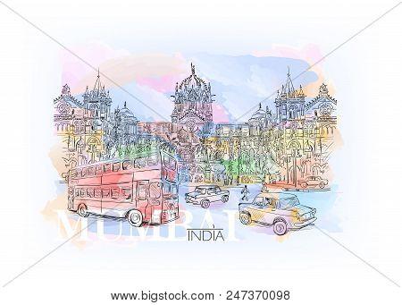 Watercolor Sketch Chhatrapati Shivaji Terminus An Historic Railway Station In Mumbai, Maharashtra, I