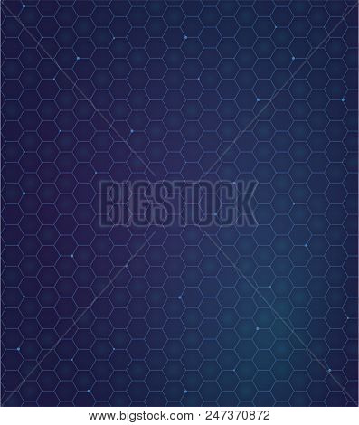Gelaxy Hexagon Backdround. Futuristic Pattern. Gradient Blu And Violet Colors. Vector Pattern With C