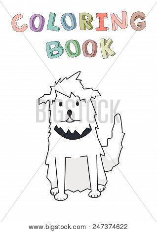 Shaggy Cur Pet With Collar. Funny Smiling Shaggy Dog Cartoon Character. Contour Vector Illustration