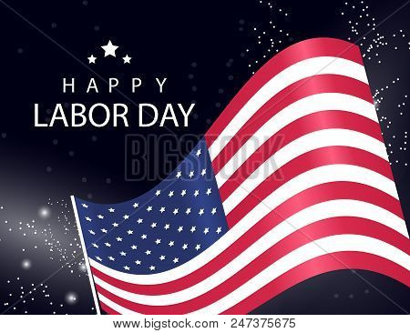 Happy Labor Day Background With Usa Flag On Sparckling Vector Illustration