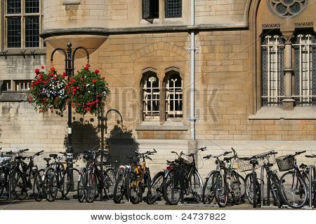 Bicycles parked at Oxford, UK.