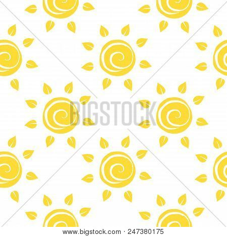 Vector Seamless Pattern With Sun With Ether Sign. Summer Background. Cute Colorful Wallpaper For Yog