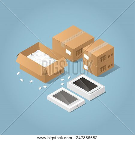 Vector Isometric Illustration Of Unpacking Delivered Purchases. There Are Some Cardboard Boxes, One