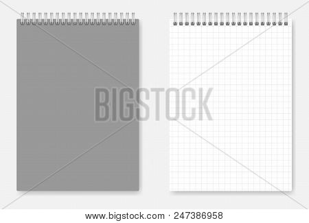 Grid-lined A6 Size Wirebound Notebook Design: Page And Grey Cover. Spiral Bound Squared Paper Notepa