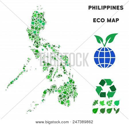 Ecology Philippines Map Composition Of Floral Leaves In Green Color Tints. Ecological Environment Ve