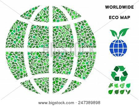 Ecology Planet Globe Composition Of Floral Leaves In Green Color Tones. Ecological Environment Vecto