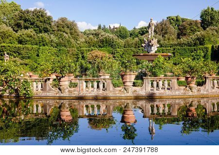 Boboli Gardens park Isolotto, an oval-shaped island in a pond at the end of the Viottolone axis, Florence, Tuscany, Italy