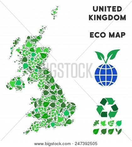 Ecology United Kingdom Map Composition Of Herbal Leaves In Green Color Hues. Ecological Environment