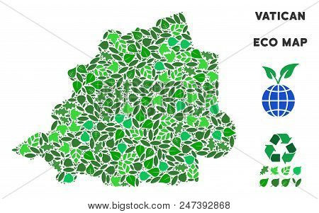Ecology Vatican Map Collage Of Herbal Leaves In Green Color Tinges. Ecological Environment Vector Co
