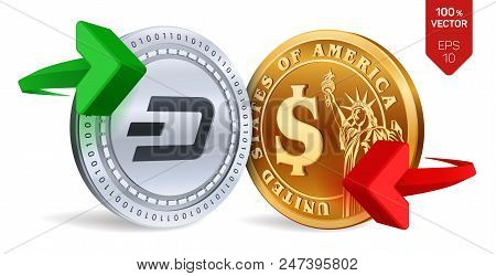 Dash To Dollar Currency Exchange. Dash. Dollar Coin. Cryptocurrency. Golden And Silver Coins With Da