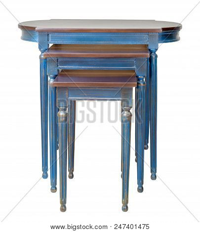 Retro Wooden Three Nested Tables With Blue Legs Isolated On White Background Including Clipping Path