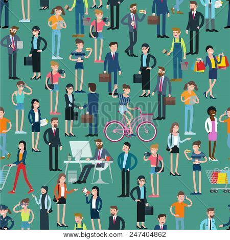 Flat  Design People Crowd  Vector Seamless Pattern Tile Background Texture. Man And Woman, Various C