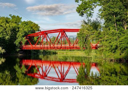 Red Truss Bridge Over The Walkill River In Upstate New York