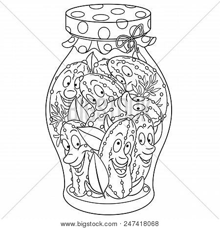 Coloring Page. Coloring Book. Pickles Jar. Pickled Cucumbers. Happy Food Concept. Cartoon Design For