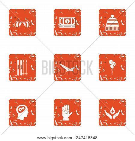 Dole Icons Set. Grunge Set Of 9 Dole Vector Icons For Web Isolated On White Background