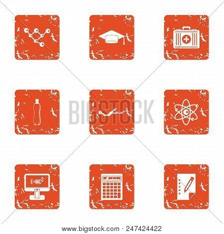 Physical Engineering Icons Set. Grunge Set Of 9 Physical Engineering Vector Icons For Web Isolated O
