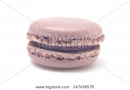 Single Lavendar French Macarons On A White Background