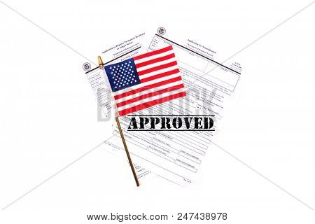 US Citizen Ship application. USA Application for Citizenship and resident alien paperwork. Politics and immigration concepts.  poster