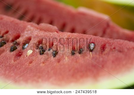 Closeup To Ripe Fresh Watermelon With Seeds, Closeup To Watermelon Slices