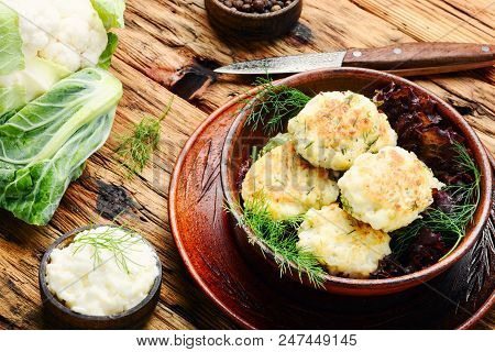 Closeup Of Fried Vegetable Cutlets
