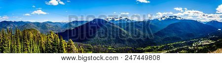 Panorama View Of The Rugged Peaks Of The Cascade Mountain Range On The Us-canada Border As Seen From