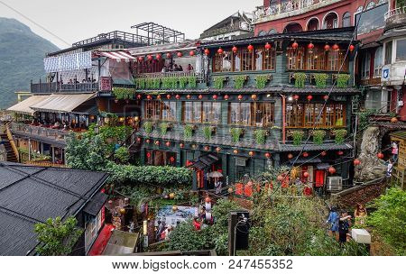 Jiufen, Taiwan - Jan 7, 2016. Ancient Town Of Jiufen, Taiwan. Jiufen Is A Popular Tourist Area With
