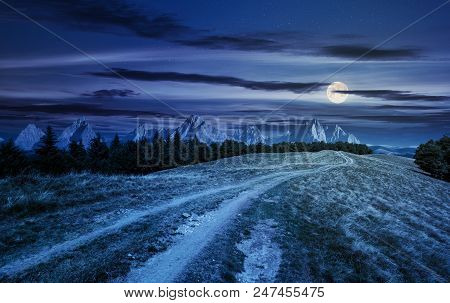 Road Through Forested Mountain Ridge At Night In Full Moon Light. Beautiful Composite Landscape With