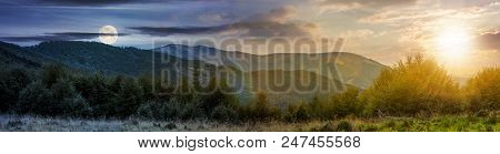 Time Change Concept Over The Carpathian Mountains. Panorama With Sun And Moon In The Sky. Beautiful