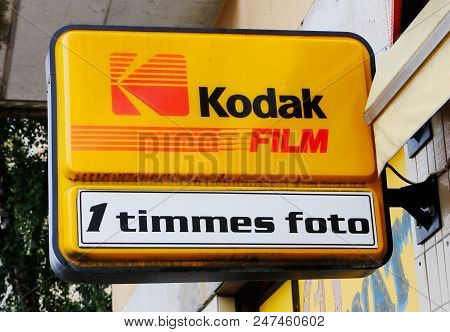 Sundbyberg, Sweden - July 26, 2017: Sign Outside A Photo Shop With One Hour Film Development Service
