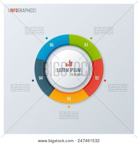 Modern Style Circle Donut Chart, Infographic Design, Visualization Template With Five Options. Vecto