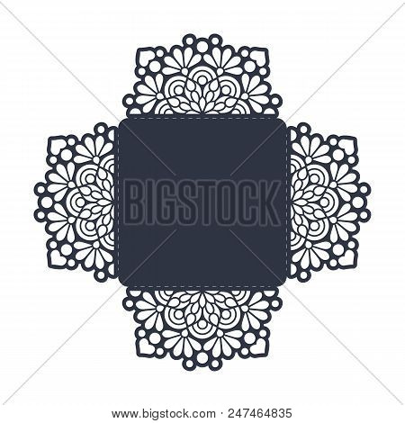 Vector Wedding Card Laser Cut Template. Vintage Decorative Elements. Hand Drawn Background. Islam, A