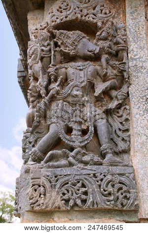 Sculpture of Varaha, 10th incarnation of Vishnu, Kedareshwara temple, Halebidu, Karnataka India poster